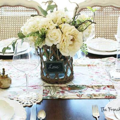 Vintage Shabby Chic Valentine's Decor in the Dining Room