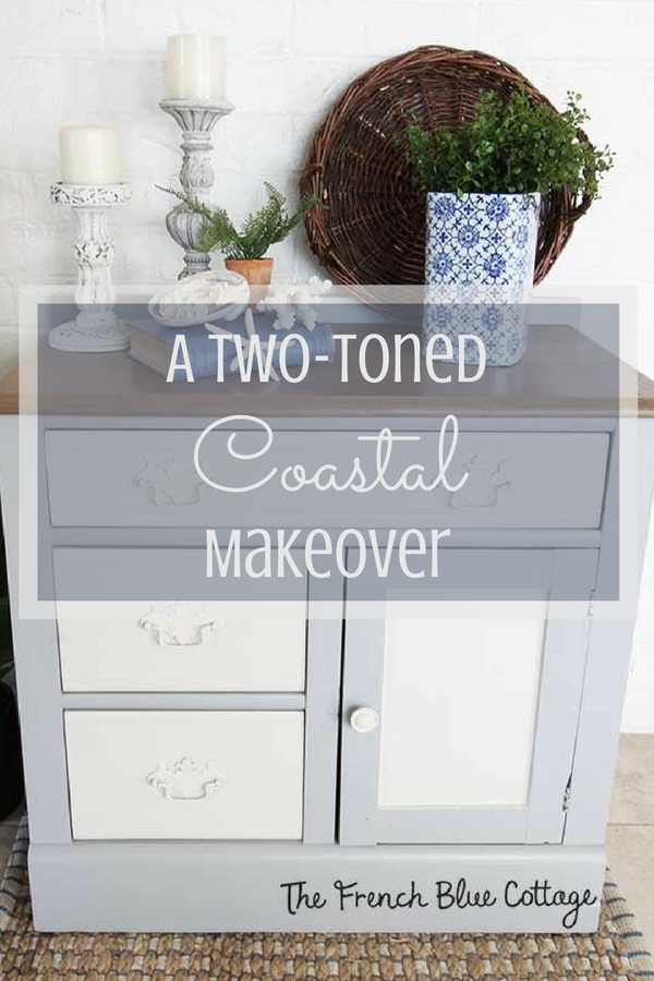 A vintage washstand with two-toned coastal makeover