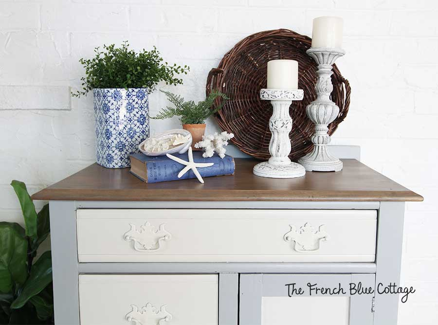 Blue and white cabinet with stained top redo.