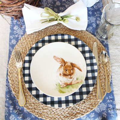 Bunnies and Gingham Easter Tablescape