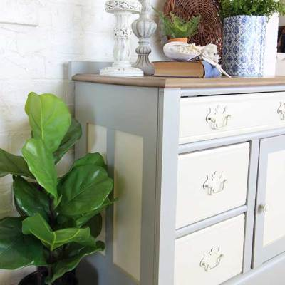 Coastal cabinet washstand makeover.