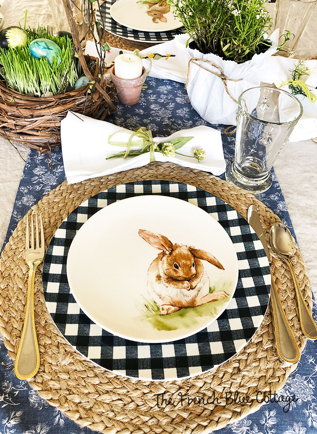 Pottery Barn bunny and gingham place setting.