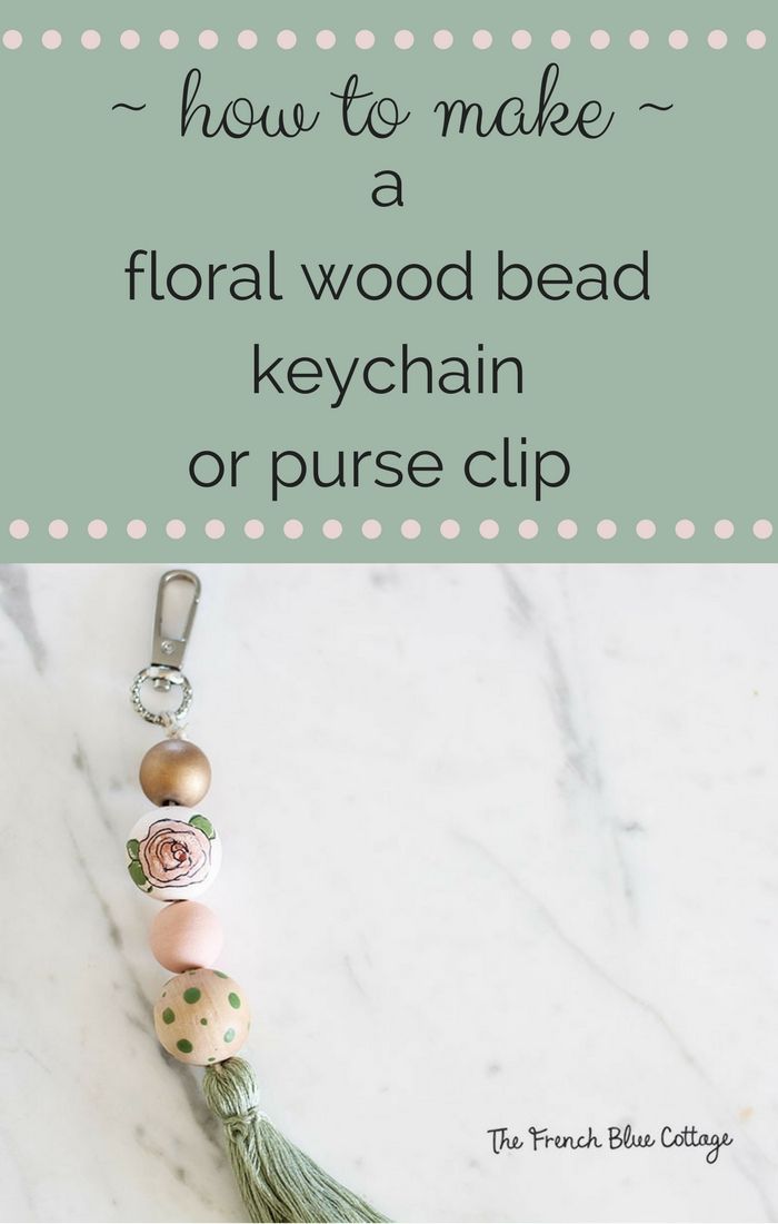 An adorable DIY floral wood bead keychain or purse clip.