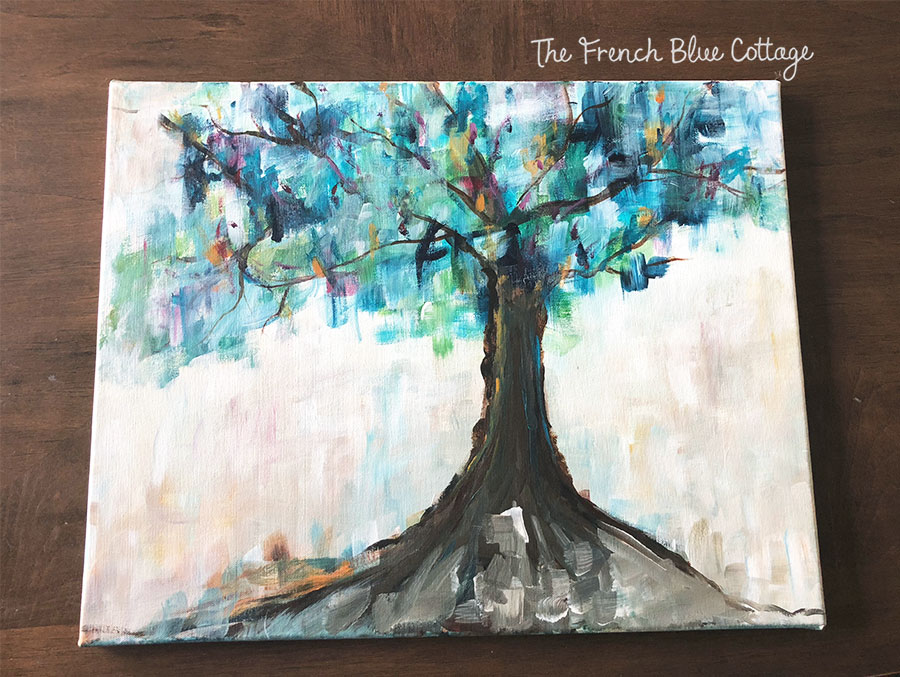 Colorful abstract tree painting