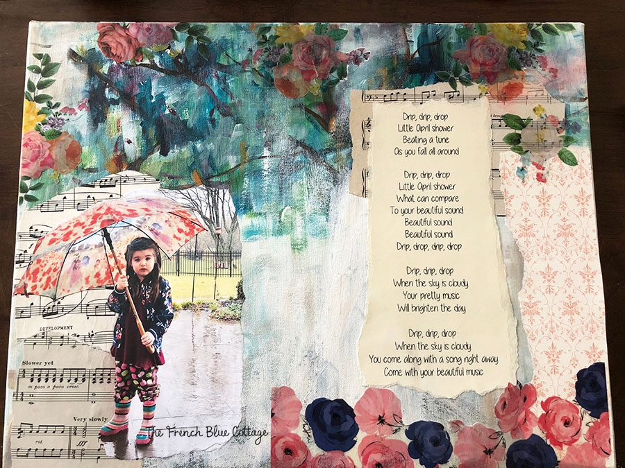 Music lyrics mixed media collage.