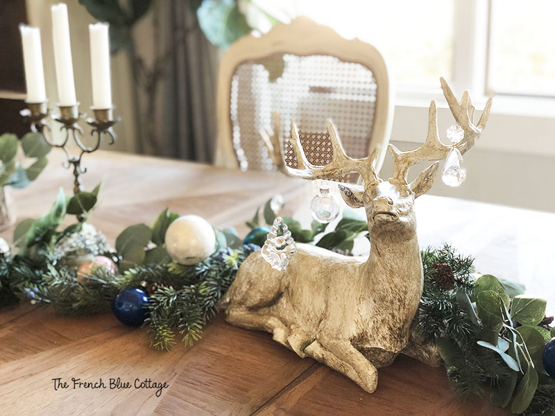 Christmas woodland glam table with deer.