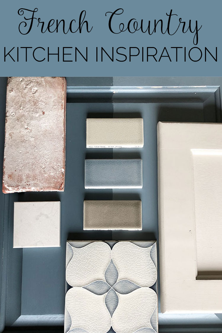 paint and tile samples for french country kitchen