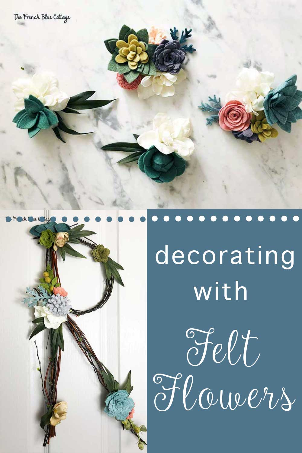 twig initials and decorating with felt flowers