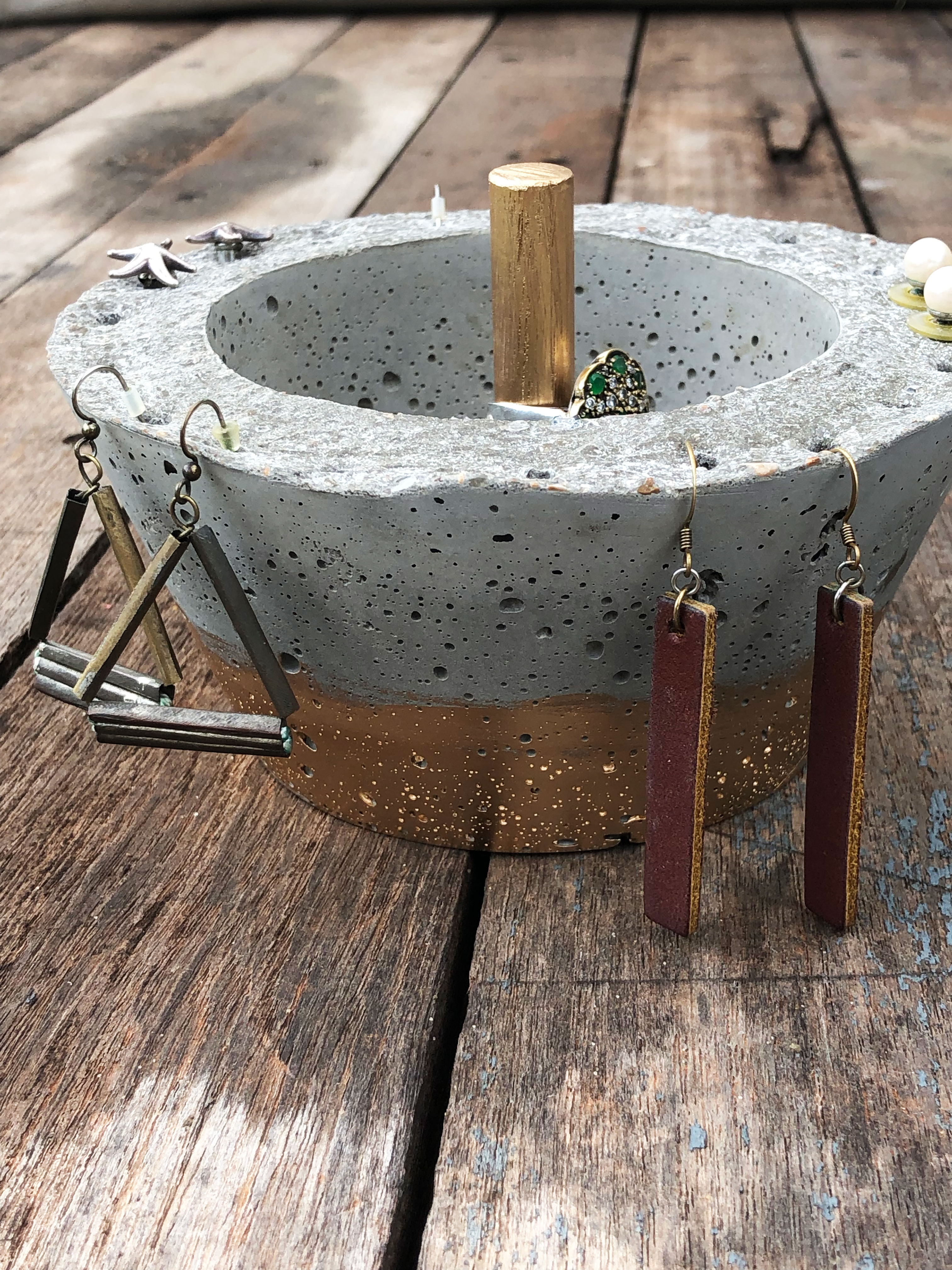 concrete jewelry bowl with gold paint
