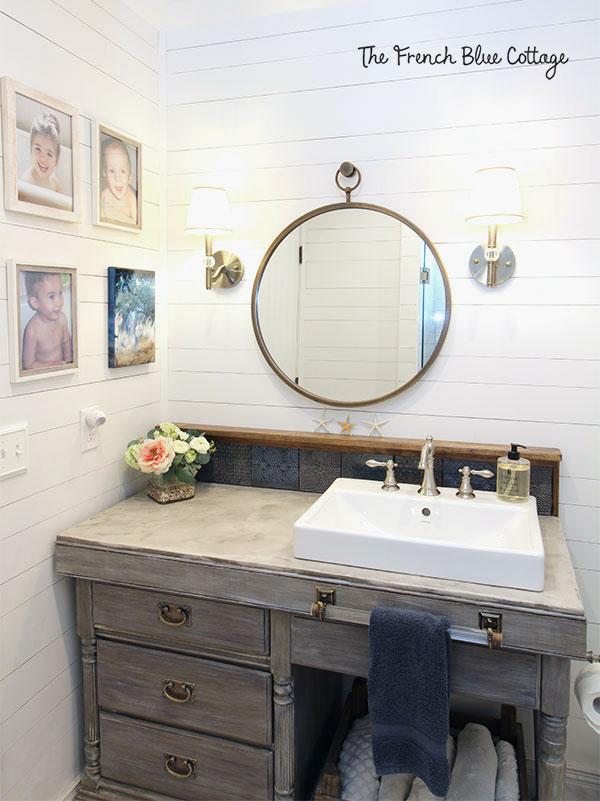 desk used as a bathroom vanity