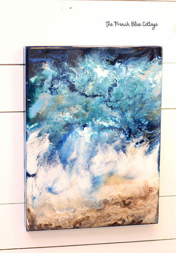 ocean inspired resin flow pour art painting