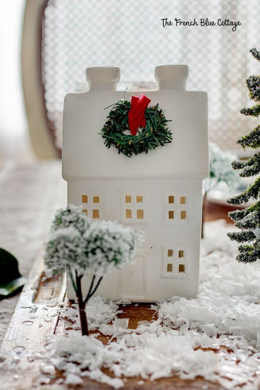 ceramic house Christmas centerpiece