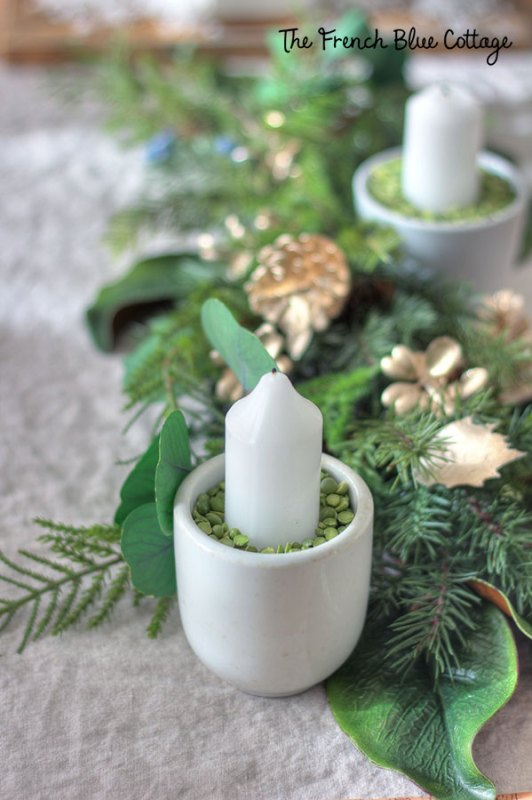 christmas candle with split pea filler