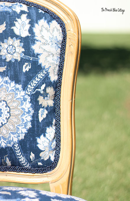 blue paisley fabric French dining chair