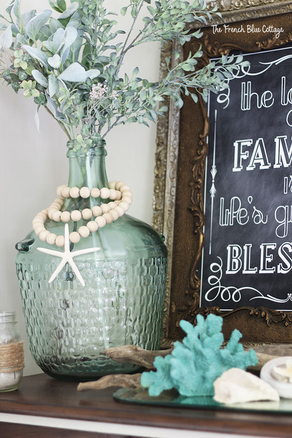 coastal inspired mantel with coral