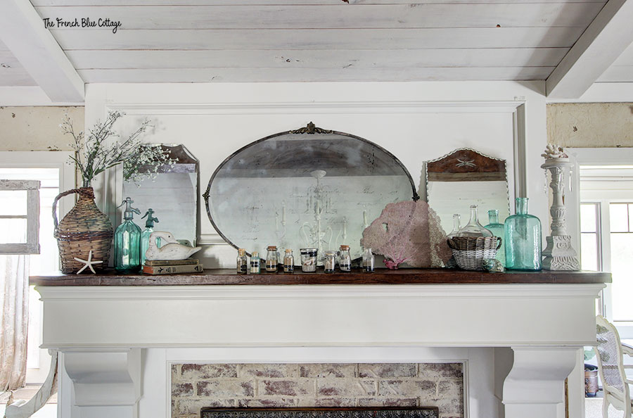 coastal inspired mantel with mirrors