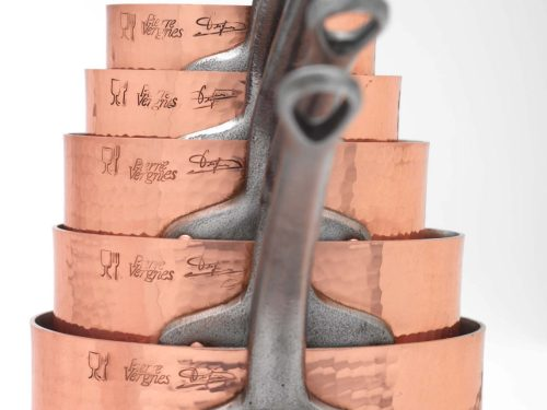 Pierre Vergnes Hammered Copper Sauce Pan Set With Custom Steel Handles