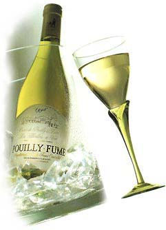 pouilly fume bottle and glass