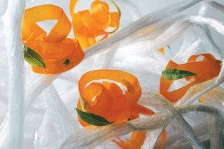 carrot ribbons in lemon verbena, ginger and liquorice