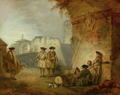 Jean-Antoine Watteau (1684 - 1721) The Portal of Valenciennes, 1709-1710 oil on canvas (lined) 12 3/4 in. x 16 in. (32.39 cm x 40.64 cm) Purchased with funds from the bequest of Arthemise Redpath, 1991. Accession number: 1991.1.173