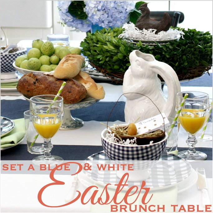A FRENCH COUNTRY BLUE & WHITE EASTER BRUNCH TABLE