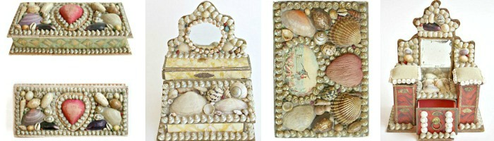 Antique Shell Work Boxes