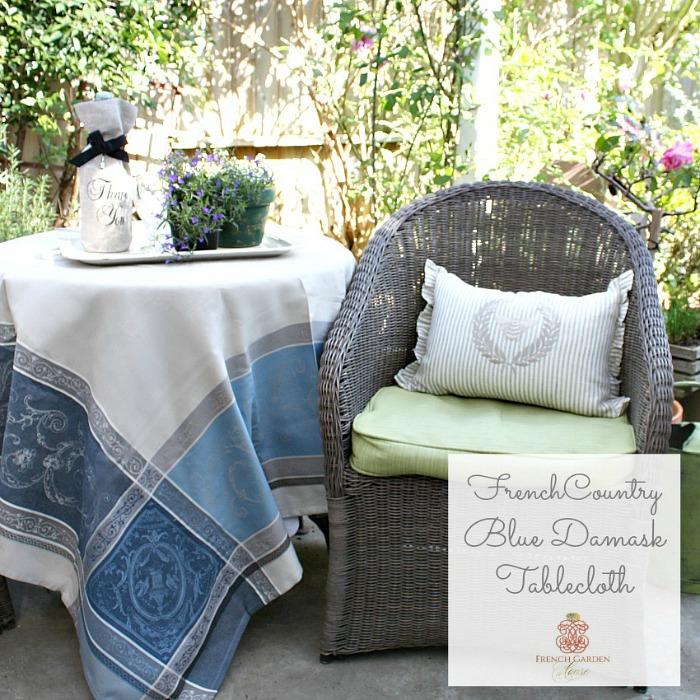 DamaskFrenchCountryBlueTablecloth