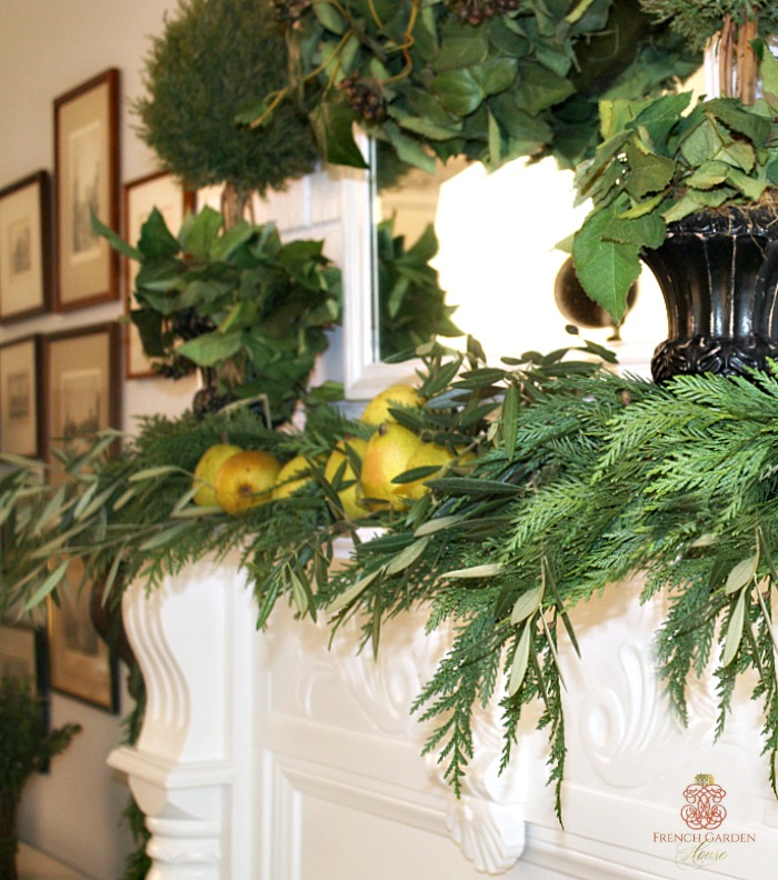 Make a beautiful and easy french country holiday mantel for French country house blog