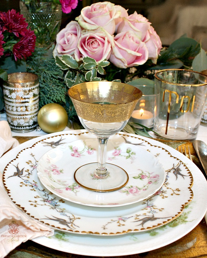 I placed a gorgeous hand painted Limoges plate with a bird pattern on top of the beloved Limoges Harrison Rose pattern dinner plate and topped that with ... & SET A ROMANTIC FRENCH COUNTRY TABLE FOR THE HOLIDAYS