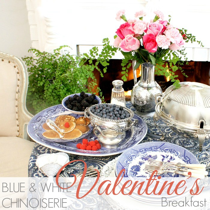 BLUE & WHITE CHINOISERIE VALENTINE'S BREAKFAST