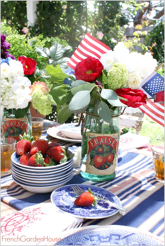Welcome to Floral Friday Iu0027m so happy you are here! This week my friends Shirley Mary and Pam and I created a patriotic floral arrangement in honor of ...  sc 1 st  French Garden House & A FRENCH COUNTRY SUMMER TABLE SETTING