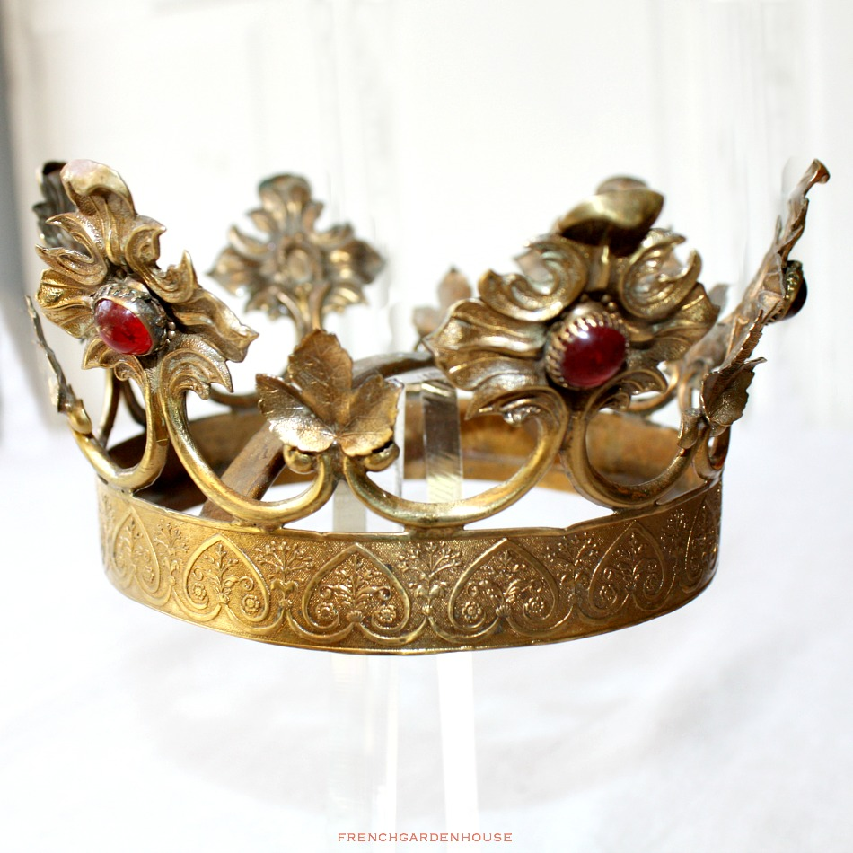 19th Century Gilt Brass Madonna Tiara Crown Red Colored