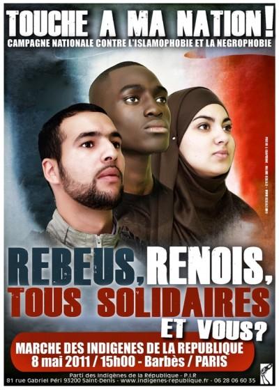Indigènes de la République Poster. Source: http://indigenes-republique.fr/rebeus-renois-tous-solidaires-et-vous/