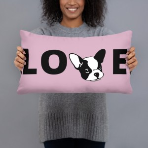Frenchie Love Pillow- Mauve