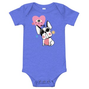 I Heart My Frenchie Hipster baby onesie