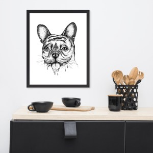 Frenchie Drool Framed poster