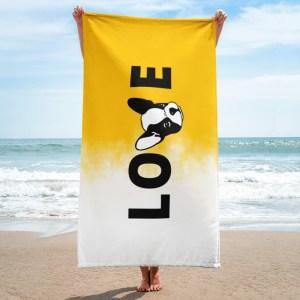 Frenchie Love yellow beach towel