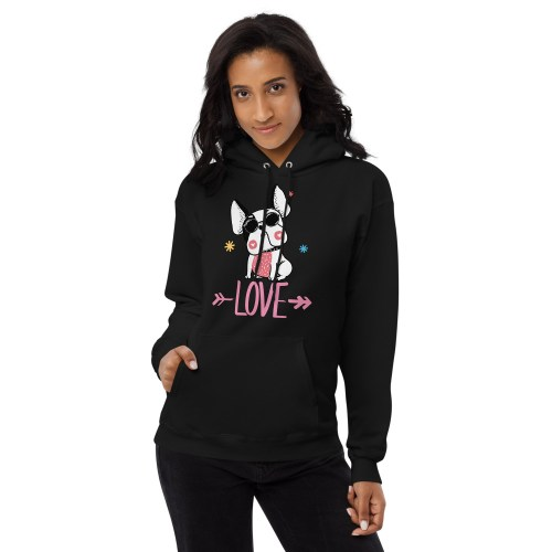 Frenchie Hipster Love women's hoodie
