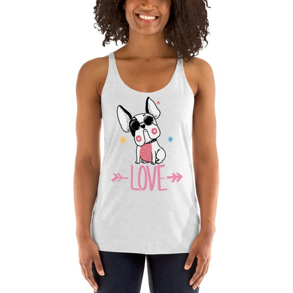 Frenchie Hipster Love Women's Racerback Tank