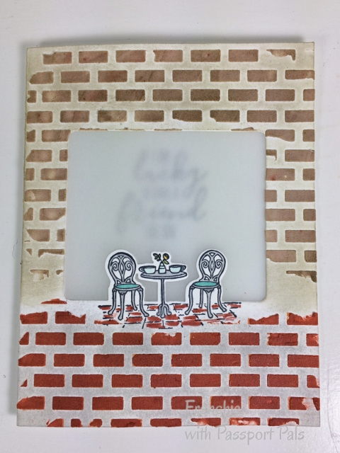 Charming Café, Window Card, Frenchie Stamps, Stampin'Up!, Brick Wall with emboss paste,