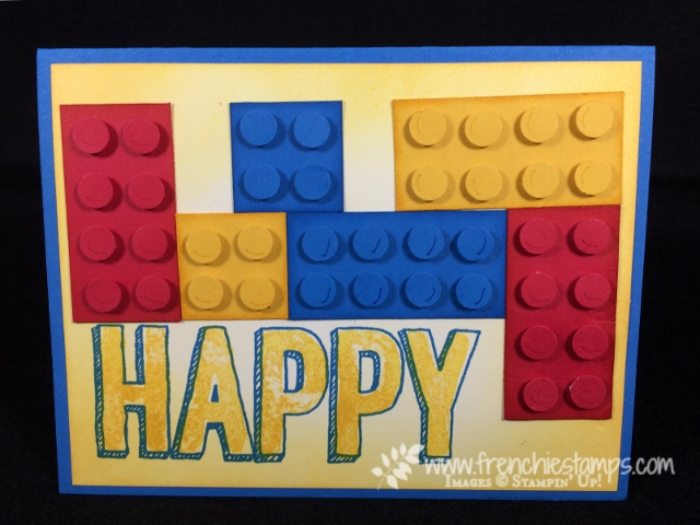 Lego Greeting Card, Happy Celebration, Cookie Cutter Punch, Stampin'Up! Frenchiestamps,