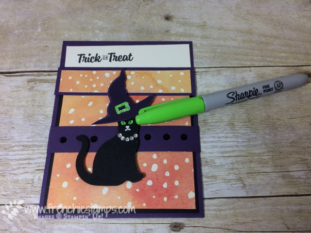 Spooky Cat, Pocket Fold, Painted Autumn, Sharpie for green eyes, Stampin'Up!, frenchiestamps