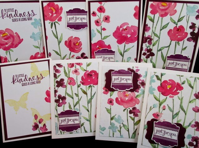 8 Note Cards with one sheet Painted Blooms Stamp on the Go