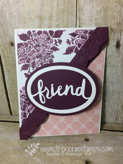 Diagonal Fold, fun Fold, Lovely Words Thinlits, All Things Thanks, Floral Phrases, Stampin'Up! Frenchie Stamps,