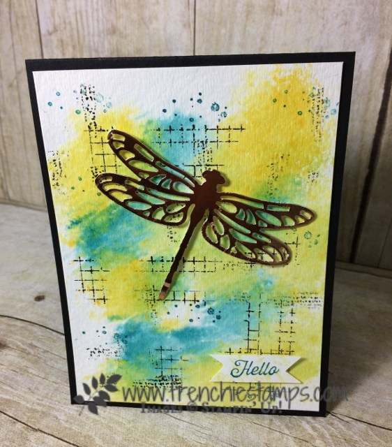 Baby Wipe Watercolor, Timeless Textures, Detail Dragonfly Thinlits, Stampin'Up!