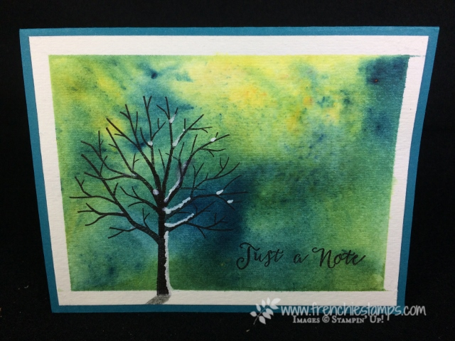 Brusho Crystal Color, Sheltering Tree, Frenchie Stamps, Stampin'Up!, Soft Saying,
