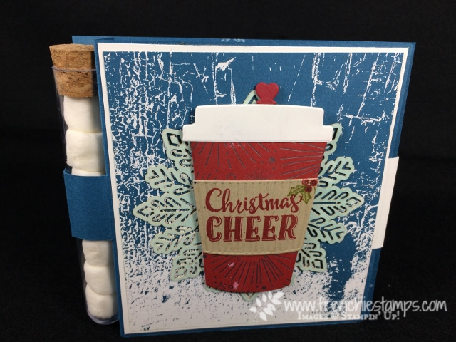 Merry Cafe, Every Good Wish, Hot Chocolate Card, Card Closure, Stampin'Up!, Coffee Cups Framelits, Frenchiestamps, Foil Snowflake, Treat Tube,Year of Cheer Designer Paper,