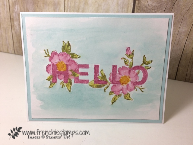 2 tone watercolor, Floral Statements, Stampin'Up!, Frenchie Stamps, No Bleeding watercolor mix color,