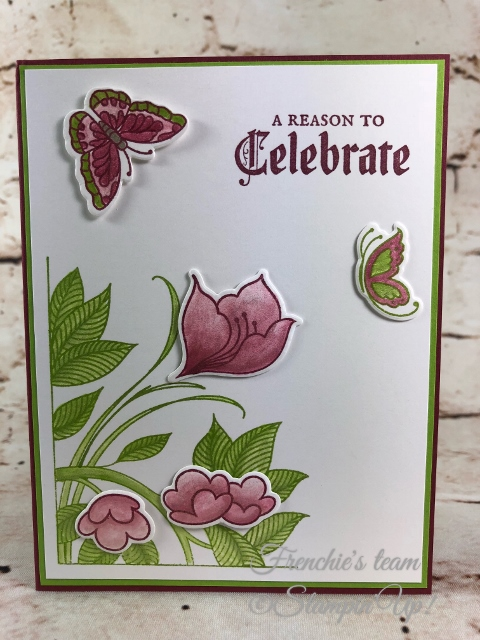 2018-2020 Stampin'Up! in-Colors, Frenchie Team challenge, Serene Garden