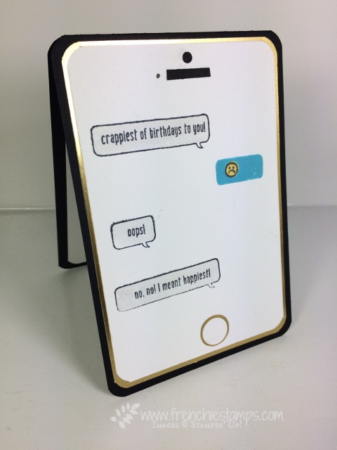 Text Ya Later, Iphone Greeting Card, Stampin'Up!, Frenchiestamps